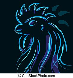 Beautiful cock on a black background with a blue glow effect of neon. Vector