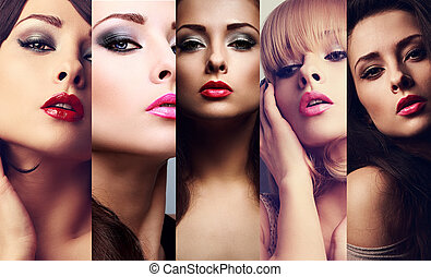 Beautiful collage of sexy bright makeup emotional women with hot lips. Closeup beauty faces