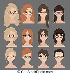 Beautiful collection of female in glasses