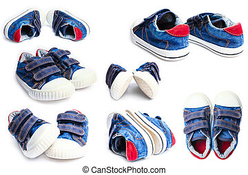 beautiful collection of sports shoes on a white background