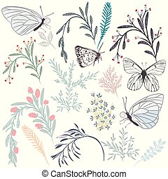 Beautiful collection of vector florals and butterflies