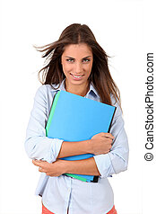 Beautiful college student holding folders