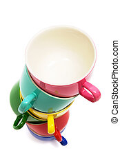 cups - Beautiful color cups on a white background