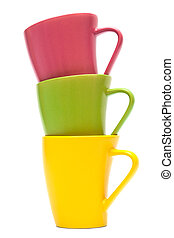 color mugs - Beautiful color mugs on a white background
