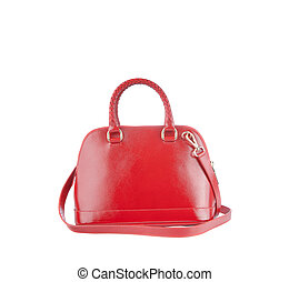 beautiful color of red leather fashion hand bag isolated white background