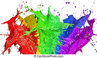 Beautiful Color Paint Splashes in Slow Motion and Freeze Motion, Green Screen, Alpha Matte. Useful for Titles and Intro. 3d Animation Art Design Concept. 4k Ultra HD 3840x2160.
