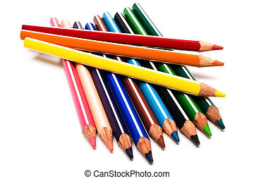 Beautiful color pencils on a white background