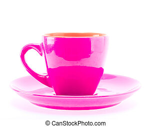 Beautiful color pink cup mug on plate dish isolated on white...