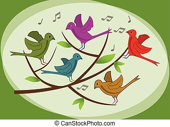 Beautiful colored birds on branch. Spring or summer illustration with birds. Singing birds on branch. Cute birds. Vector image with animals.
