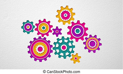 Beautiful colored gears of various shapes spin into...