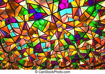 beautiful colored glass windows with asymetric pieces