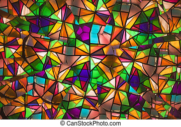 beautiful colored glass windows with asymmetric pieces