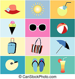 icons to the summer recreation - beautiful colored icons to...