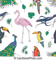 Beautiful colored seamless pattern with tropical birds and exotic leaves hand drawn on white background. Colorful vector illustration for wallpaper, fabric print, wrapping paper.