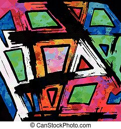 Beautiful colorful abstract graffiti polygons on a black background vector illustration