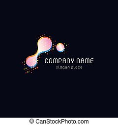 Beautiful colorful abstract vector shape with dots, molecular biology symbol.