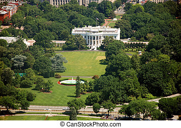 Beautiful colorful aerial view of Washington DC with The White house from Washington Monument.