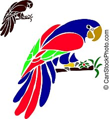 Beautiful colorful big parrot (ara), silhouette on white background,