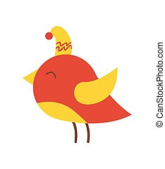 Beautiful Colorful Bird in Hat Vector Illustration