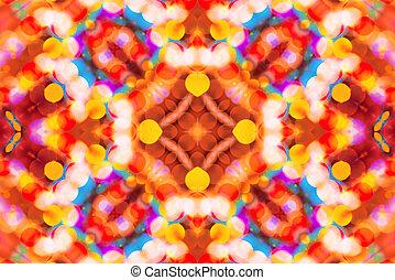 Beautiful colorful bokeh festive lights in kaleidoscope