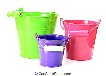 Beautiful Colorful Buckets Isolated on White Background