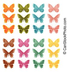 Beautiful colorful butterflies isolated on white background