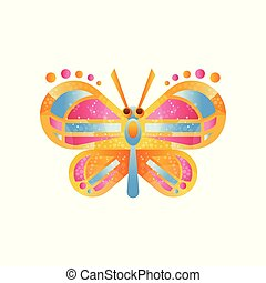 Beautiful colorful butterfly vector Illustration on a white background