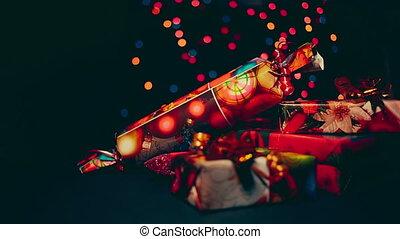 Beautiful colorful christmas gifts close up. - Beautiful...