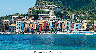 Beautiful colorful cityscape of village Portovenere, Italy