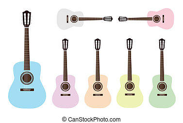 Music Instrument, An Illustration Collection of Colorful Classical Guitar in Grey, Pink, Light Blue, Purple, Orange, Yellow and Light Green