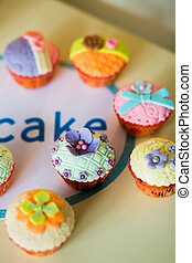 Beautiful, colorful, delicious Cupcakes on the table