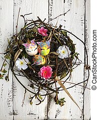 Beautiful colorful Easter eggs on the table