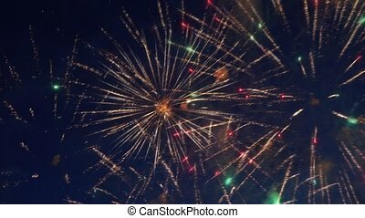 Beautiful colorful fireworks show in night sky