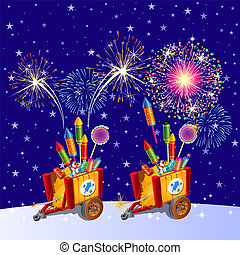 Beautiful colorful holiday fireworks in the evening sky. The attributes of the New year. Vector cartoon close-up illustration