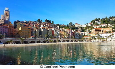 Beautiful Colorful Houses In The Old Town Of Menton And The Mediterranean Sea