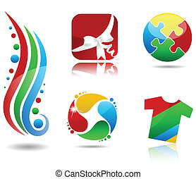 Beautiful colorful icon collection Abstract gift box, T shirt, puzzle, t-shirt, drops