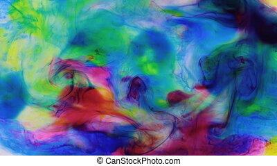 Beautiful colorful ink in water, ink drop. Zoom multi...