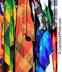 colorful Mexican serape fabric handcrafted