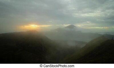 Beautiful colorful mountain landscape with smoke - Beautiful...