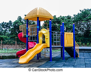 beautiful colorful playground in the park