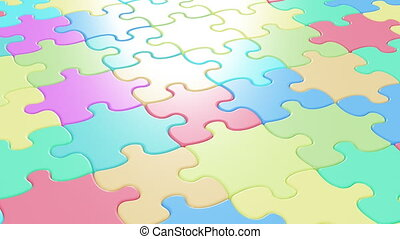 Beautiful Colorful Puzzle Pieces Falling on the Table....