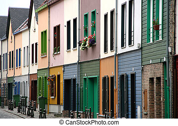Beautiful colorful row of houses in Amiens, Picardie, France