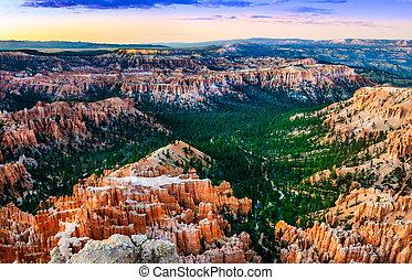 Beautiful colorful sunset at Bryce canyon, USA