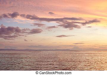 beautiful colorful sunset on sea