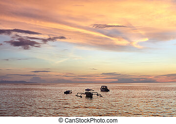 beautiful colorful sunset on the sea