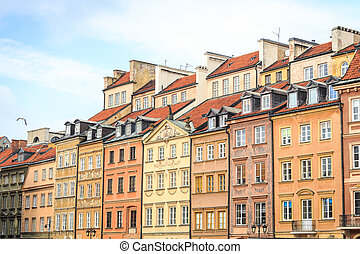 Beautiful colorful tenements in the city center of Warsaw, Poland