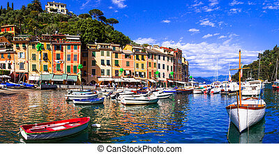 Beautiful colorful towns of Italy - luxury Portofino in...