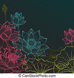 Beautiful colorful vector floral frame with lotus