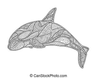 Beautiful coloring book page with decorative orca