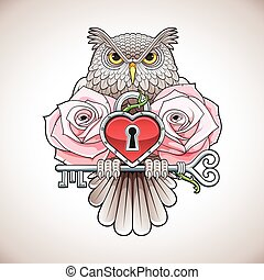 Beautiful colour tattoo design of an owl holding a key with a heart locket and pink roses